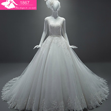 MTOB1867 A-Line Cap Sleeves Chapel Train Wedding Dress
