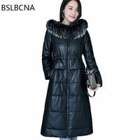 Длинные овец натуральная кожаные пальто элегантный Теплый пуховик Одежда Для женщин енотовидная собака волосы воротник зимние из натураль