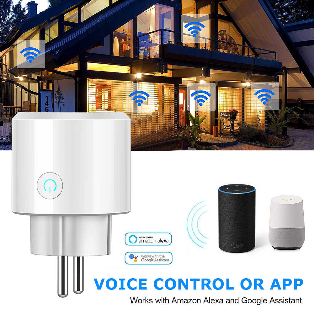 Smart Mini Socket Plug WiFi Wireless Remote Control Socket Adapter with Timer on and off Compatible with Alexa Google Home voice