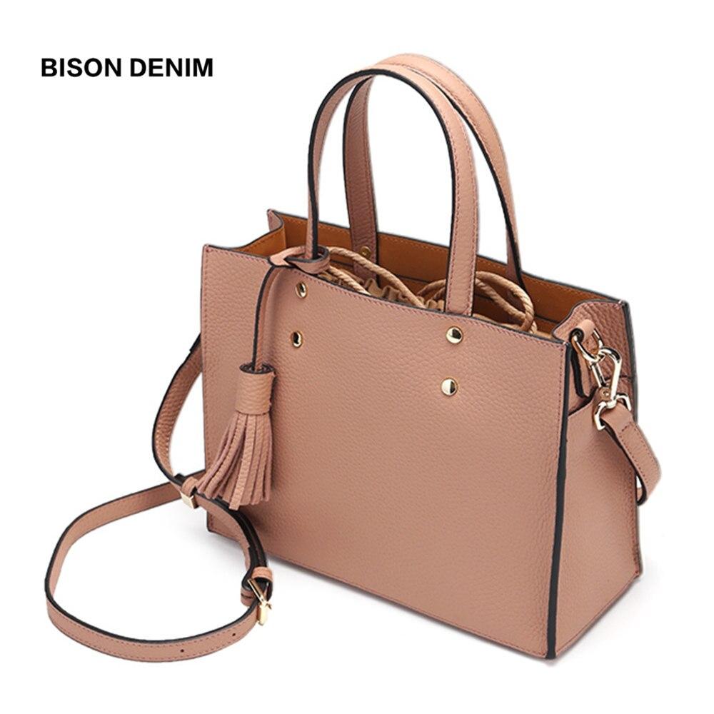 BISON DENIM sacs à main de luxe femmes sacs Designer en cuir véritable femme sacs à bandoulière 2018 fourre-tout sac à bandoulière pour femmes N1572