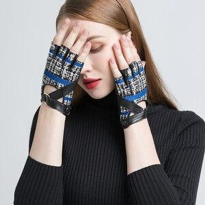 Image 4 - Gours outono e inverno luvas de couro genuíno feminino luz cinza azul marinho goatskin fingerless luvas 2019 nova moda gsl030