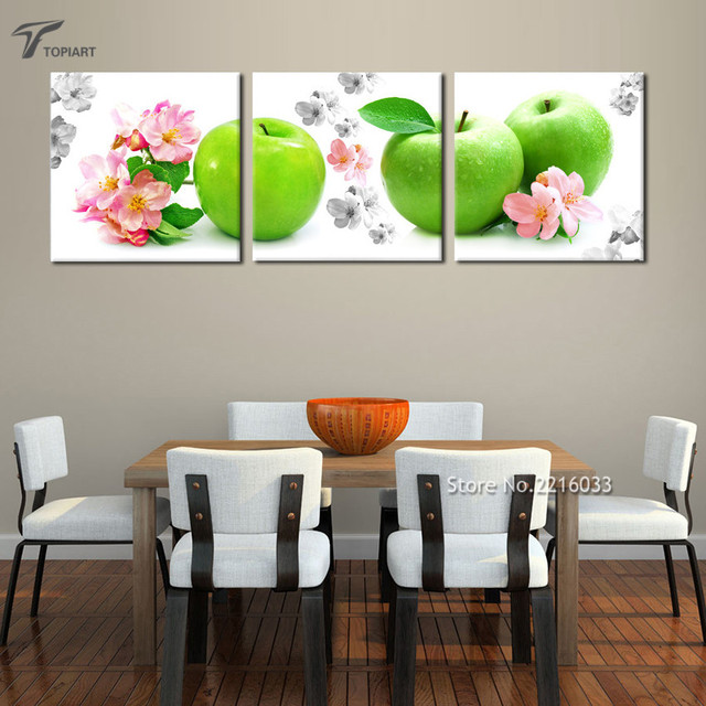 Home Decor Wall Art Green Apple And Red Flower Wall Painting Kitchen Decor Canvas Printings Real