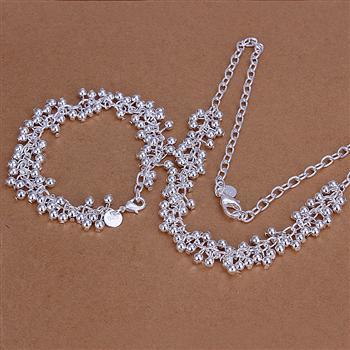 S153 925 Hot Selling silver jewelry set, fashion jewelry set Smooth Grape Ball Bracelet Necklace S153 /alfajcma awxajoea