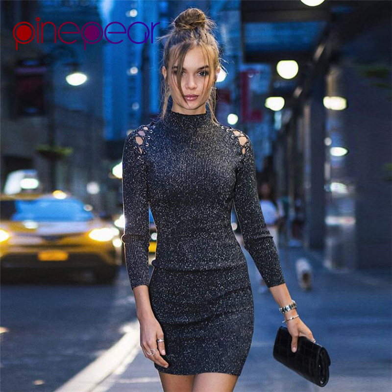 d60f1fb4cb PinePear Glitter Lurex Knitted Dress 2019 NEW Winter Women Long Sleeve  Turtleneck Hollow Out Lace Up Bandage Dress Drop Shipping