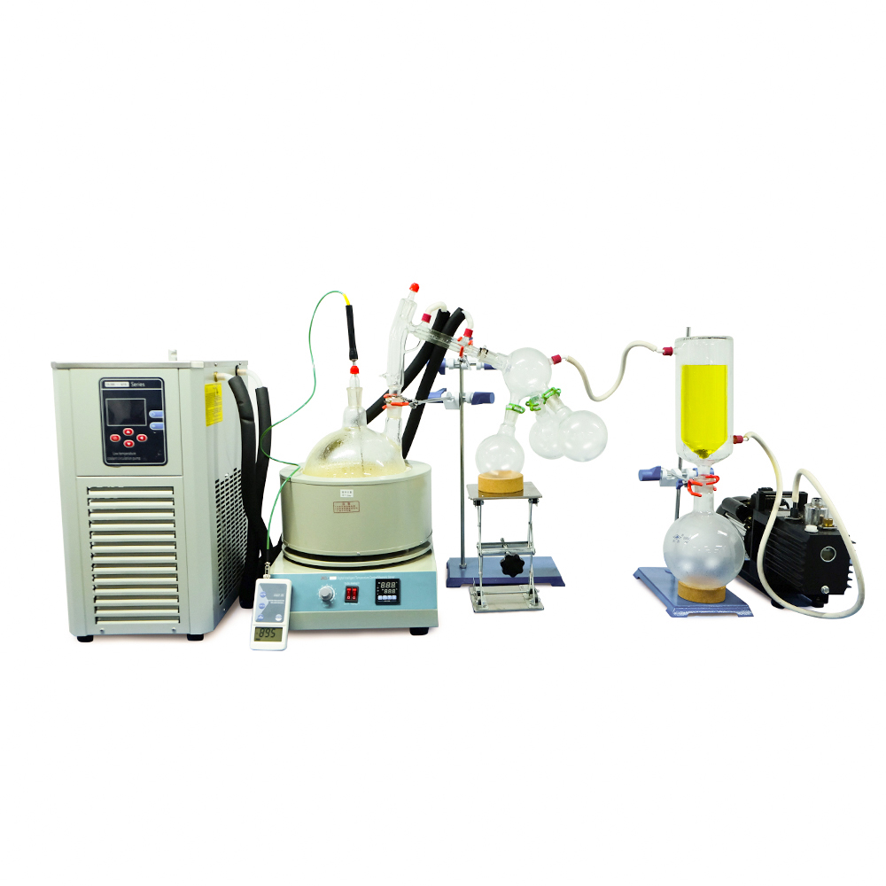 Équipement de laboratoire 2L Kit de Distillation à courte distance complet paquet clé en main avec pompe à vide et refroidisseur