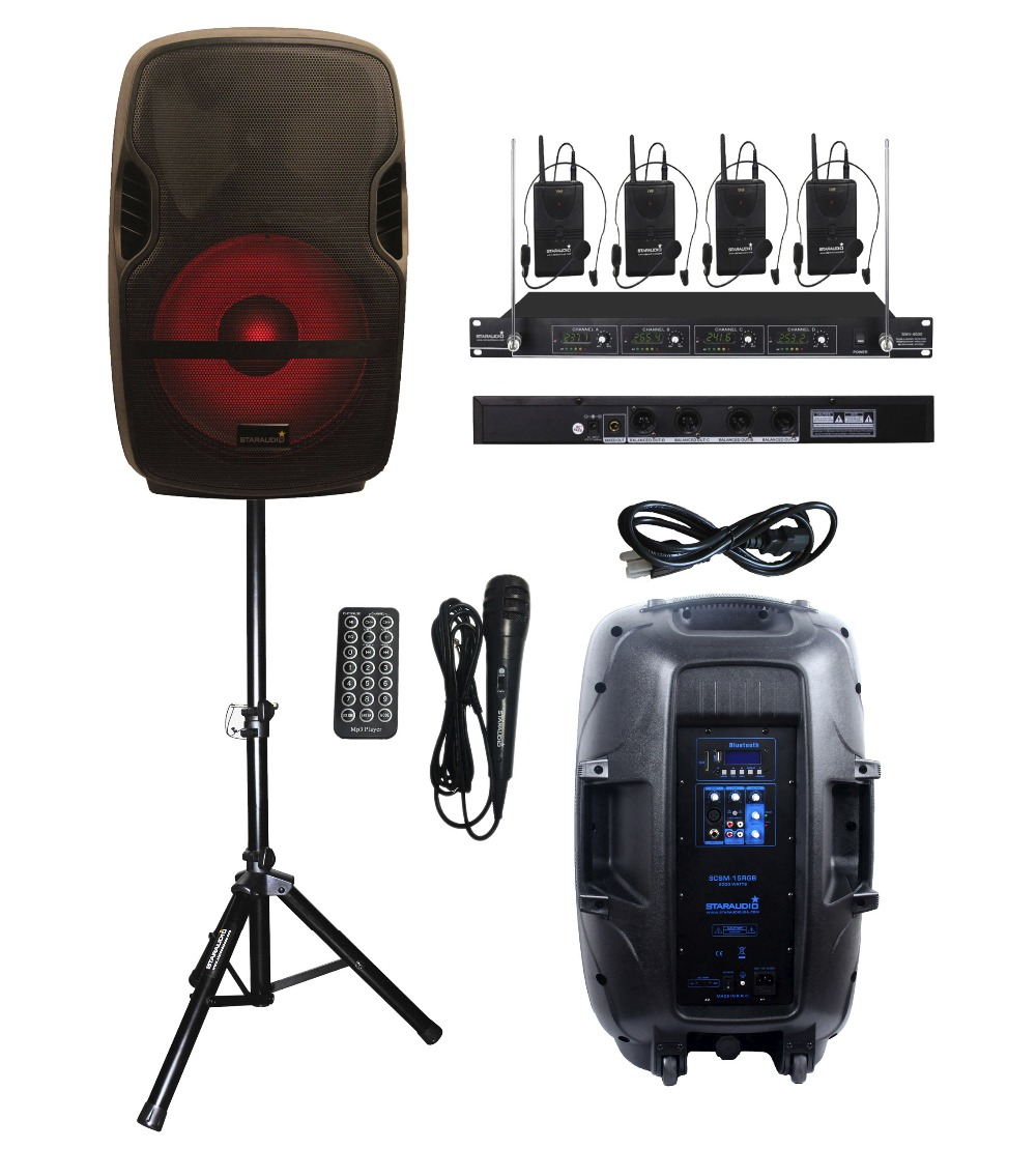 STARAUDIO 2000W 15PA DJ KTV Portable SCSM-15RGB Stage Karaoke Powered Active BT MP3 USB Speaker W/LED Light Stand 4CH VHF Mic