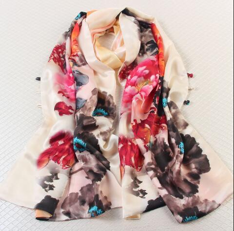 Grand foulard en soie imprimé fleurs d'été pour femmes 100*200 cm