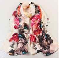 Summer flower print silk large scarf for women 100*200cm