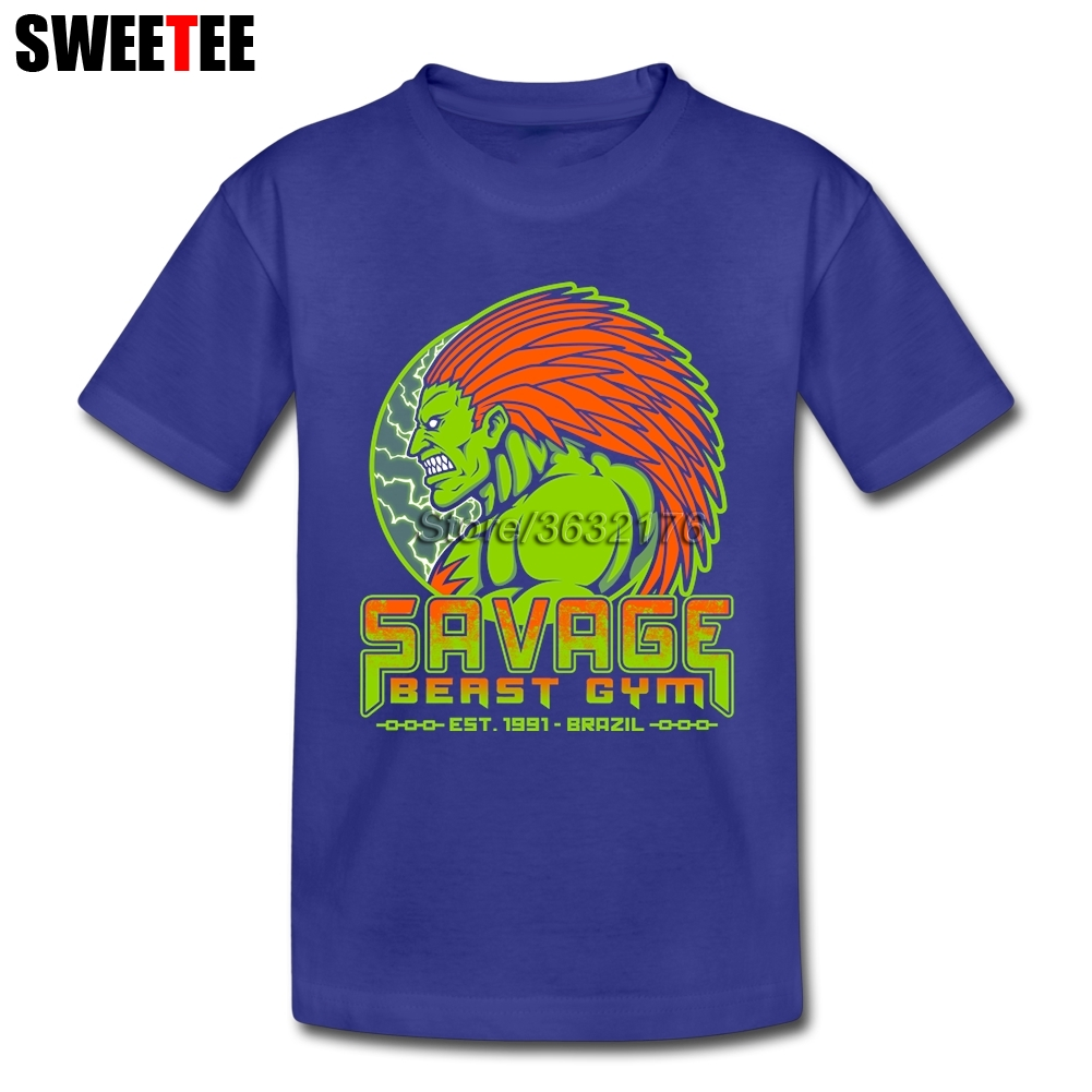 Savage Beast Gym Street Fighter Blanka T Shirts Children Short Sleeve 4T-8T Crew Neck Tee Classic Top Clothing For Boys Girls