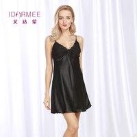 Idarmee S1013 الراقية مثير نوم النساء قمصان الأشرطة التنانير الحرير الرباط الملابس الداخلية babydolls القمص