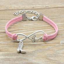 European American Fashion Jewelry Hand-knitted Hot Sale Unlimited Love Charm Simple Style Cowboy Boots Bracelet Women Men Gift(China)
