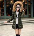 2014 New Hot Sale Women Large Animal Fur Collars Down Coat Jacket Suit Winter Long Warm Duck Down Cotton Wadded Outwear Lady