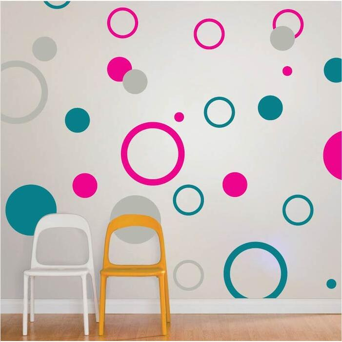 3d Large Size Round Dots Tree Wall Stickers Home Decor: Rings And Dots Wall Decals Wall Stickers Bedroom Stickers