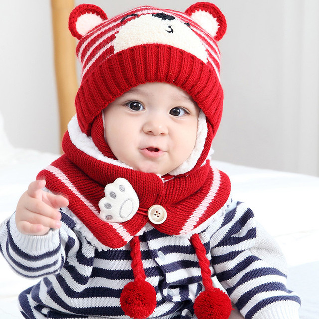 2df393d2e51 MUQGEW 2018 Brand Children Hat Baby Boy Girl Hair Ball Earbud Hat Child  Print Knit Hats +Scaf Child Cap Photo Props gorro infant