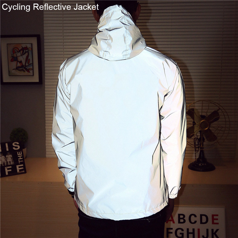 2018 Night Cycling Jacket Reflective Riding Bike Jacket Men Bicycle Windbreaker Sporting Coat Hooded Fluorescent Clothing