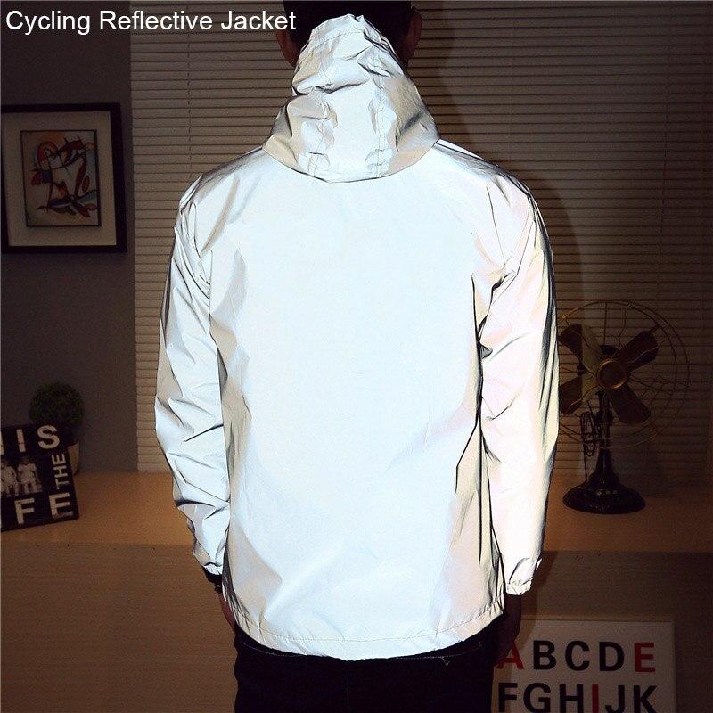 2018 nacht Radfahren Jacke Reflektierende Reiten Fahrrad Jacke Männer Fahrrad Windjacke Sporting Mantel Mit Kapuze Fluoreszierende Kleidung