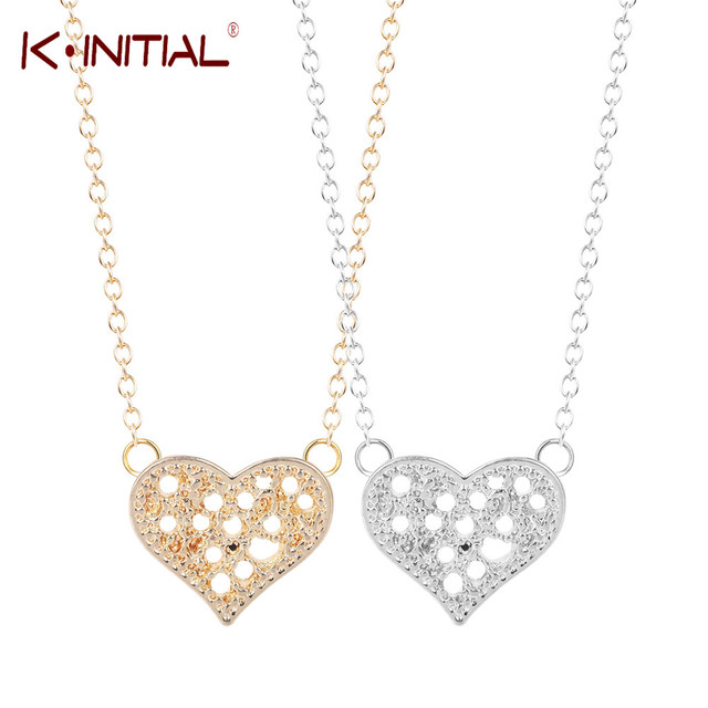 Kinitial gold silver filigree heart necklace mother child family kinitial gold silver filigree heart necklace mother child family love heart pendants necklaces gift for valentines mozeypictures Choice Image