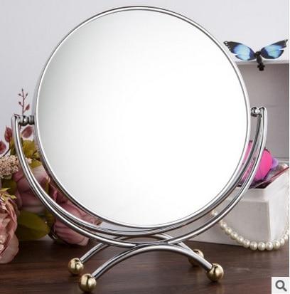 SpringQuan جدید 7 اینچ آینه رومیزی دسکتاپ فلزی سبک اروپایی آینه مد ساده آینه دوبل 3Xzoom شاهزاده خانم