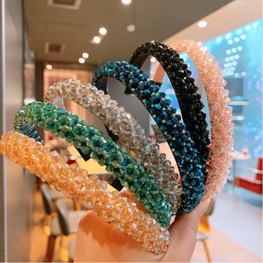 Haimiekang Retro Beaded Hairband Shiny Women Headband Hair Accessories Wide Simple Crystal Hair Hoop Head Band Girls Hairbands