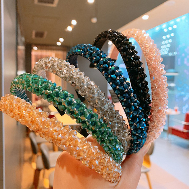 Haimiekang Retro Beaded Hairband Shiny Women Headband Hair Accessories Wide Simple Crystal Hair Hoop Head Band Girls Hairbands