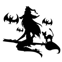 Car stying 15*13.4CM Sexy Witch On Broom Vinyl Stickers Fashion Funny Window Decals Can be pasted to any flat surface  Jdm