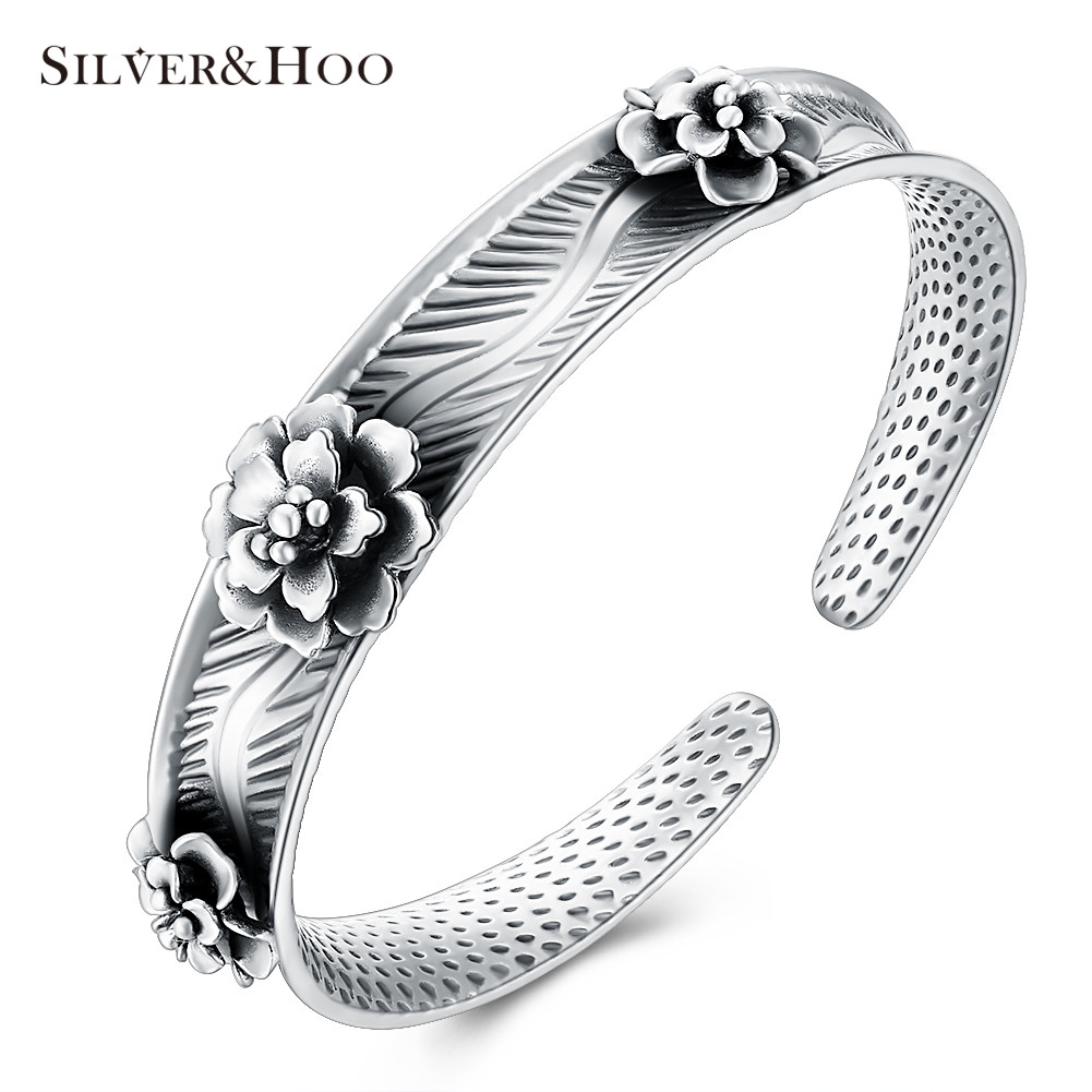 INALIS Genuine 999 Sterling Silver Flower Bangles Elegant Bracelets for Women Ethnic Fine Accessories JewelryINALIS Genuine 999 Sterling Silver Flower Bangles Elegant Bracelets for Women Ethnic Fine Accessories Jewelry