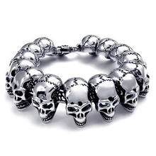 Punk Large Gothic Skull Bracelet Biker Men Stainless Steel Pulseiras Masculina Silver Color