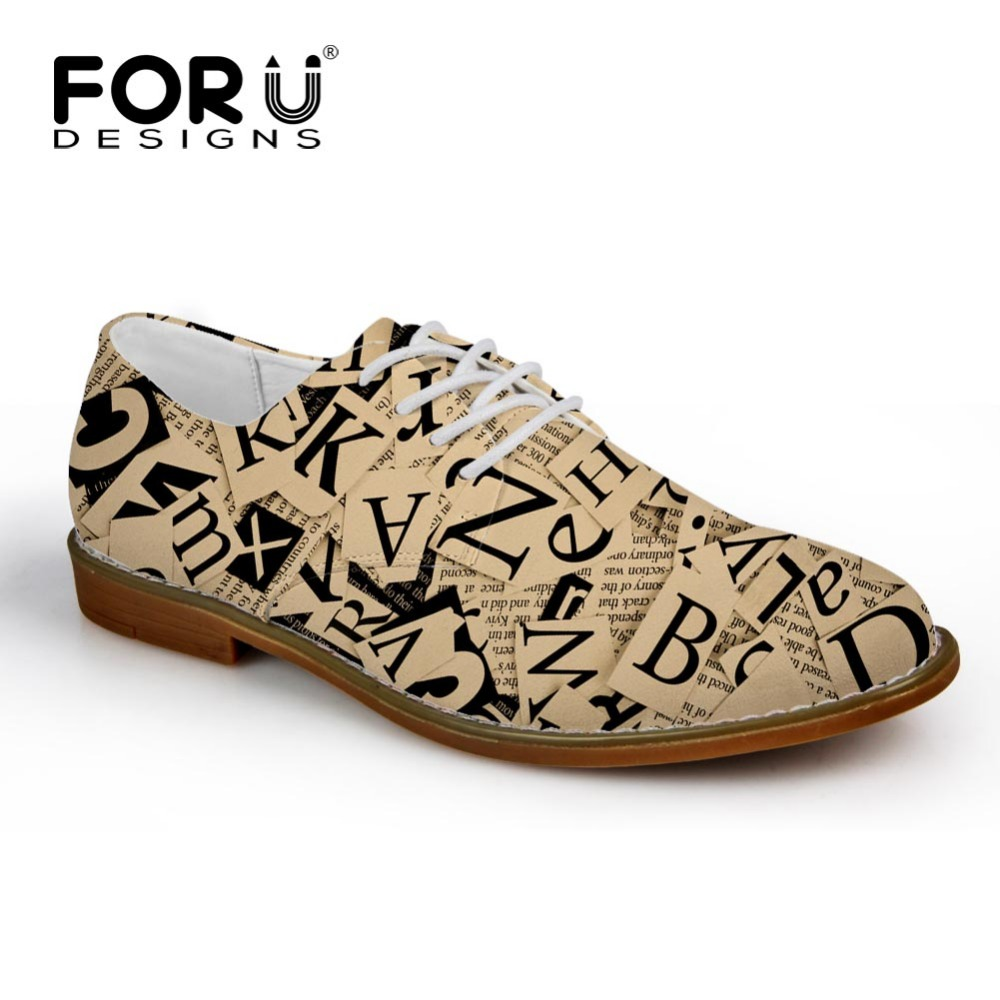 FORUDESIGNS Vintage Newspaper Trykt Mænds Casual Læder Sko High Quality Male Oxfords Shoe Leisure Pustende Lace Up Flats