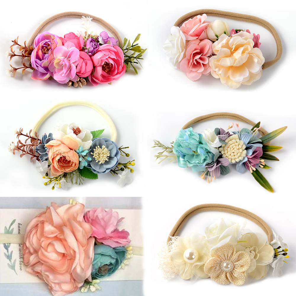 Faux flower nylon headband newborn flower crown hairband baby girls faux flower nylon headband newborn flower crown hairband baby girls hair accessory photography prop kidocheese in hair accessories from mother kids on izmirmasajfo