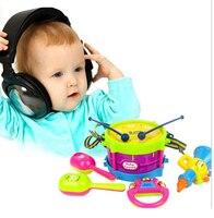 5 шт. 1 компл. детей ударных игрушки джаз барабан инструментальный головоломки детские с молотка Рог колокольчики подарок