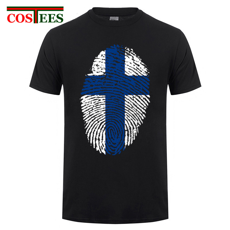 Plus size XXXL Funny <font><b>Finland</b></font> <font><b>flag</b></font> fingerprint Men T <font><b>shirts</b></font> for <font><b>Finland</b></font> Nation Day Short sleeved cotton comfortable T-<font><b>shirt</b></font> homme image