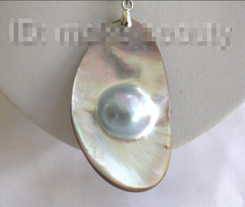 Gratuite>>>>>> superbe grand 53X31mm baroque gris du sud mer mabe perle collier Pendentif b172