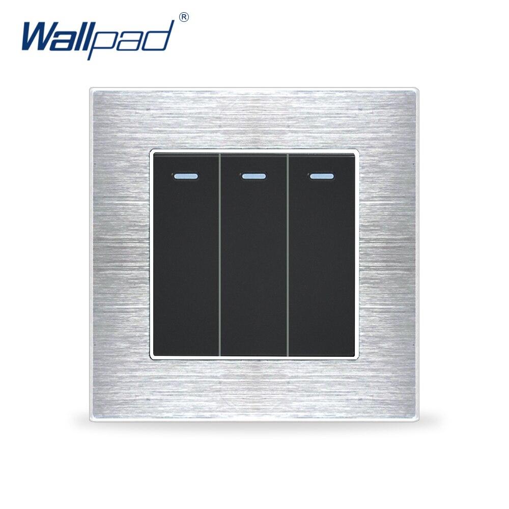 3 Gang Contact Momentané Interrupteur de Réinitialisation Commutateurs Wallpad Luxe Wall Light Switch Satin Panneau Métallique