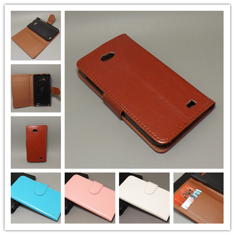 Crazy horse wallet case hold two Cards with 2 Card Holder and pouch slot For Gionee GN700W Fly iq441