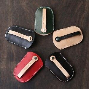 Image 3 - Da thật chính hãng Da Cá Tính Tặng handmade vintage móc treo chìa khóa túi ví Miễn phí khắc Móc Khóa Túi Ví túi 010