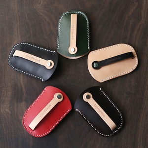 Image 3 - Genuine Leather Personalized Gift handmade vintage car key holder bag wallets  free engraving  Keychain Pouch Purse bag 010