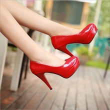 2016 hot sale Women pumps Shoes High Heels Shoes good quality Leather Wedding Shoes sapatos femininos Plus Size 34-42