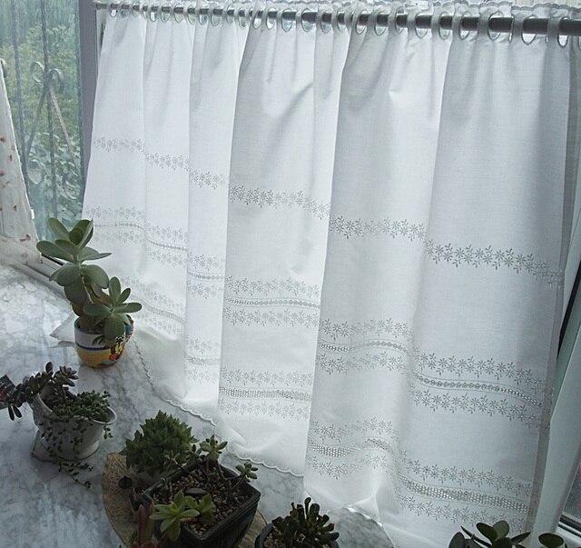 Livraison gratuite pastorale Beige coton floral broderie café court rideau  cuisine rideaux pour salon chambre 150*75 cm