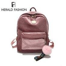 Herald модные мини Velve Для женщин рюкзак женский рюкзак помпон мех мяч школьная сумка для девочки-подростка рюкзак Mochila