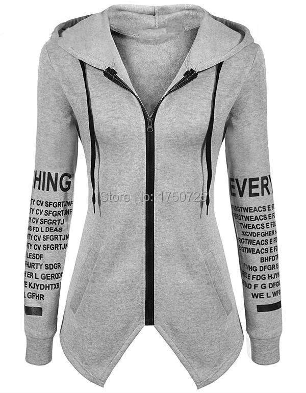 16 autumn winter women Hoodies sweatshirts letter print pullover harajuku plus size zipper irregular top sportswear 9