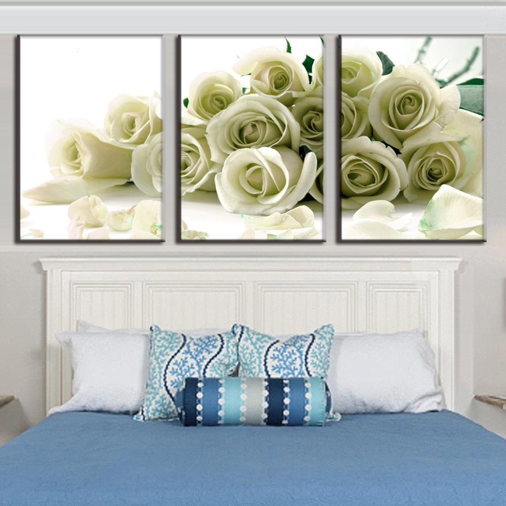hot sale 3 pcs set white roses prints on canvas painting modern flower wall picture for living. Black Bedroom Furniture Sets. Home Design Ideas