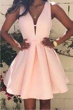 2016 günstige Einfache Rosa Homecoming Kleider Sexy V-ausschnitt Sleeveless Short Kleider mit Reißverschluss Zurück