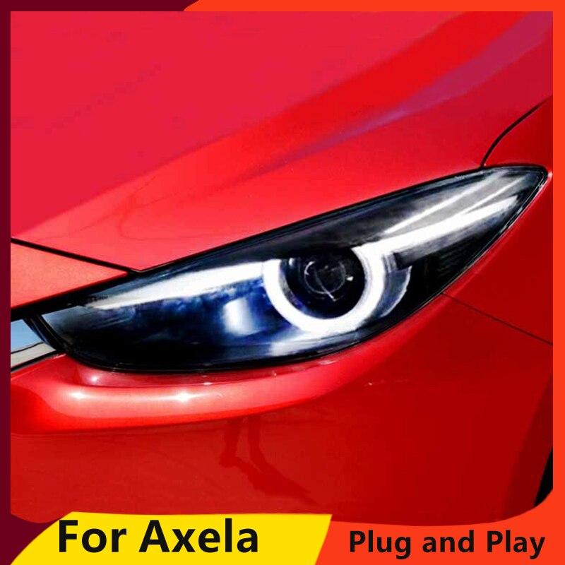 KOWELL автомобильный Стайлинг для Mazda 3 фары 2017 Новый Мазда 3 Axela светодиодный фонарь оригинальный DRL Bi Xenon объектив Высокий Низкий луч парковка