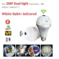HD 1080P Bulb Light Wireless IP Camera 2MP Mini Lamp Infrared Cam Wi FI FishEye 360