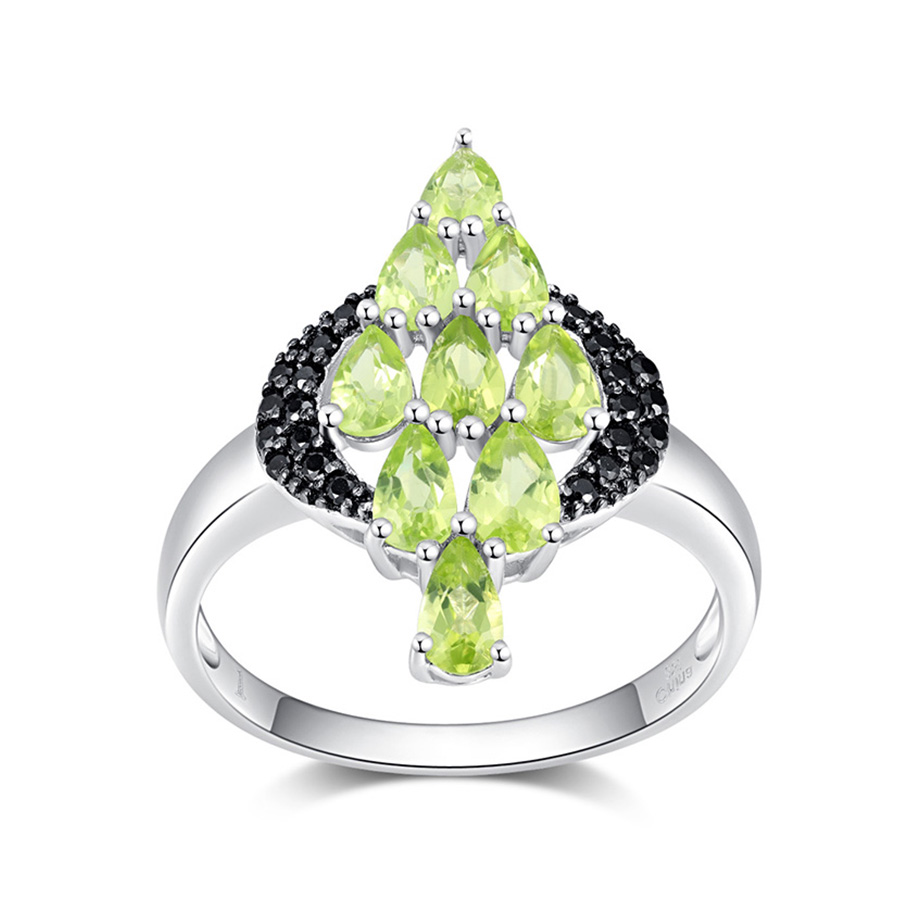 PJC Natural Gemstone 5*3mm 2.05ct Pear Manchurian Peridot With 0.25ct Black Spinel Sterling Silver 925 Ring Best Christmas gift