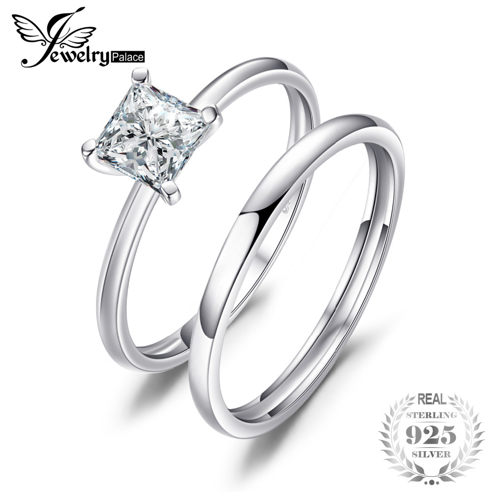 f40e4b7097 JewelryPalace Princess Cut 0.6ct Cubic Zirconia Wedding Band Solitaire Engagement  Ring Bridal Sets 925 Sterling Silver Jewelry
