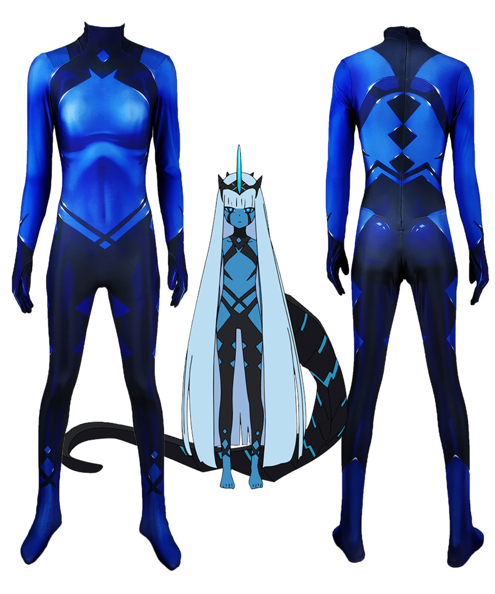 New Anime DARLING in the FRANXX Code 001 Zentai Cosplay Costume Halloween Party Unisex Adult Kid Sexy 3D Bodysuit Suit Jumpsuits