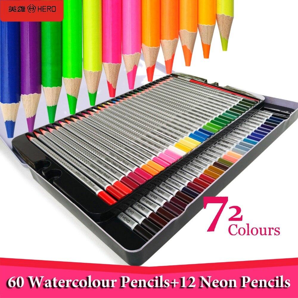 Hero 60/72 lapices de colores profesionales Watercolor Drawing Colored Pencils 12 Neon Kids Coloring Pencils Set School Supplies
