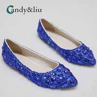 Blue Crystal Wedding Shoes Pointed Toe Slpi on Shallow Boat Flats for Party Banquet Bridesmaid Bridal Pregnant Girls
