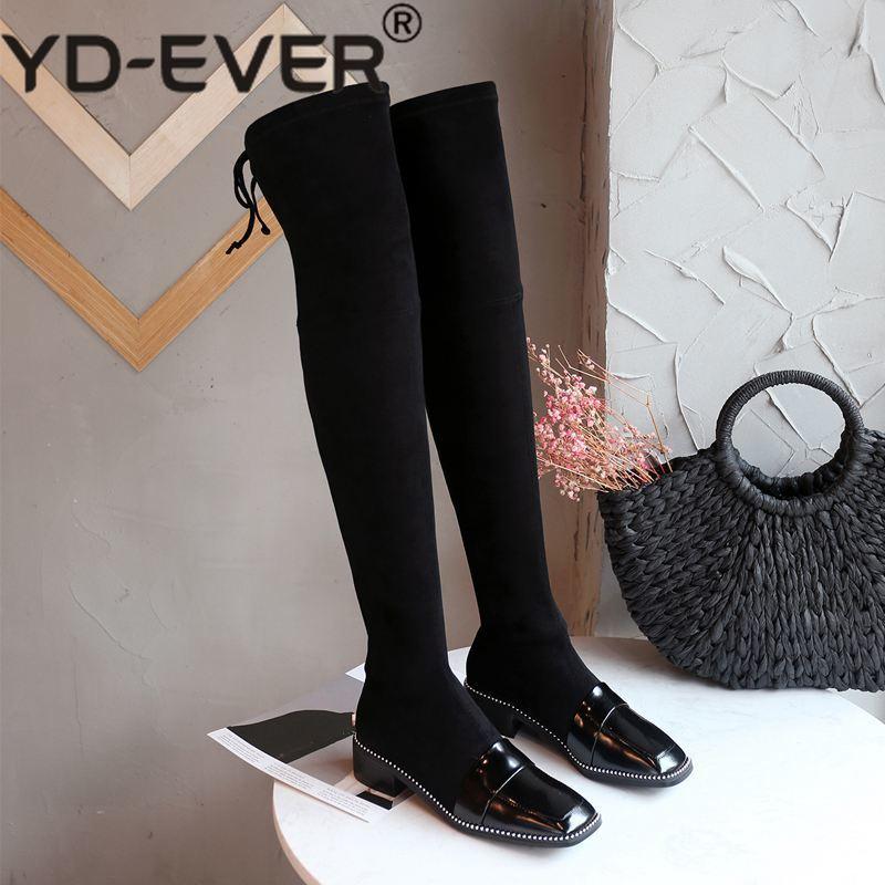 Noir Sur Glissement Banquet Verni Dailywear L42 Rivets Yd Perles Bottes Chaussures genou Hiver Cuir ever the Extensible En vin Naturel Over Rouge D'hiver YCqqXwAxR